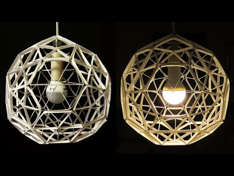 DIY lamp (geodesic sphere) - learn how to make a paper lamp/lantern from geometric shapes - EzyCraft