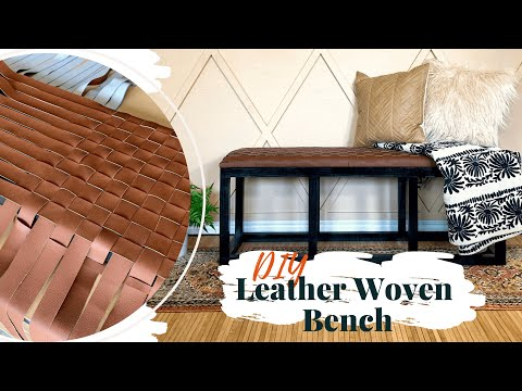 DIY Leather Woven Bench