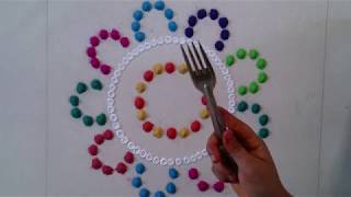Beautyful Galicha Rangoli Design | Using Fork