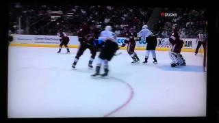 Keith Yandle slash on Corey Perry 1/15/2011