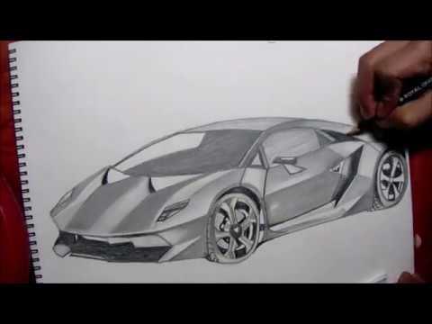 Dibujando El Lamborghini Sesto Elemento Drawing The Lamborghini Sesto Elemento Youtube