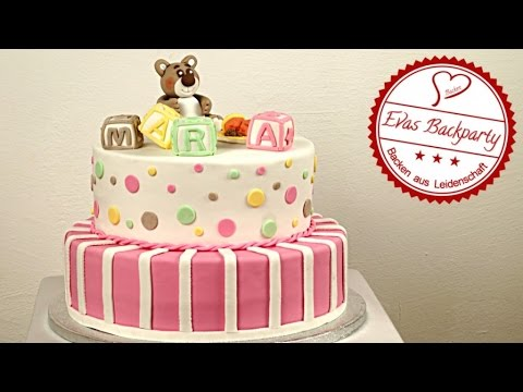 zweist ckige m dchen fondanttorte tauftorte baptism cake geburtstagstorte youtube. Black Bedroom Furniture Sets. Home Design Ideas