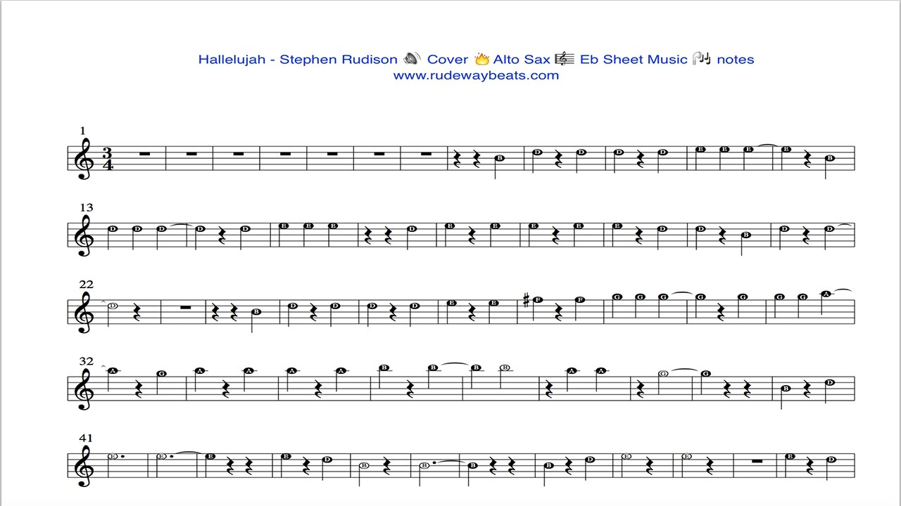 Christmas Hallelujah Sheet Music.Hallelujah Stephen Rudison Alto Sax Eb Notes