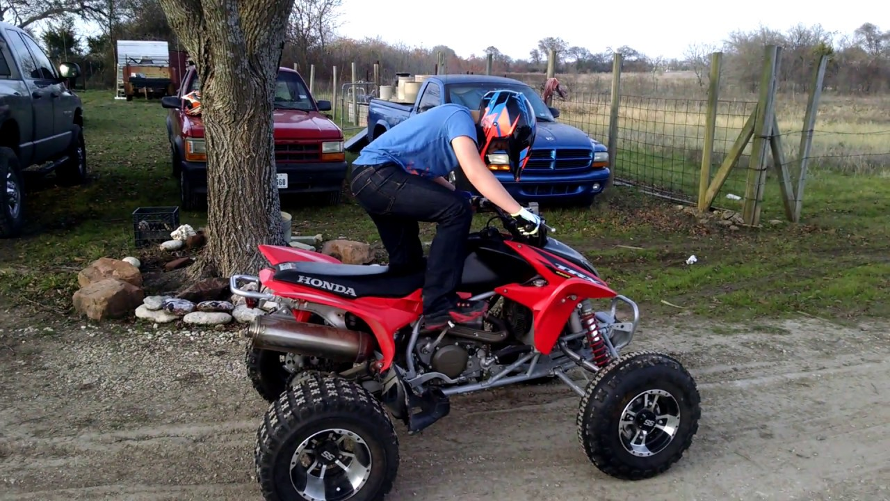 2015 Honda 450R >> ADAMS FIRST TIME KICK START 04 HONDA TRX 450R - YouTube