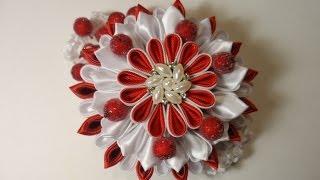 "Уроки Канзаши . Многослойный цветок ""Зимняя Вишня""  Мастер класс Канзаши"
