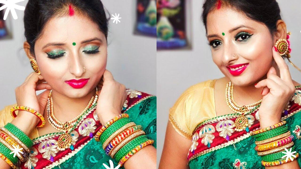 सावन स्पेशल मेकअप हरी साड़ी के साथ कैसे करें l Sawan Special Makeup Tutorial l Kiranshankar