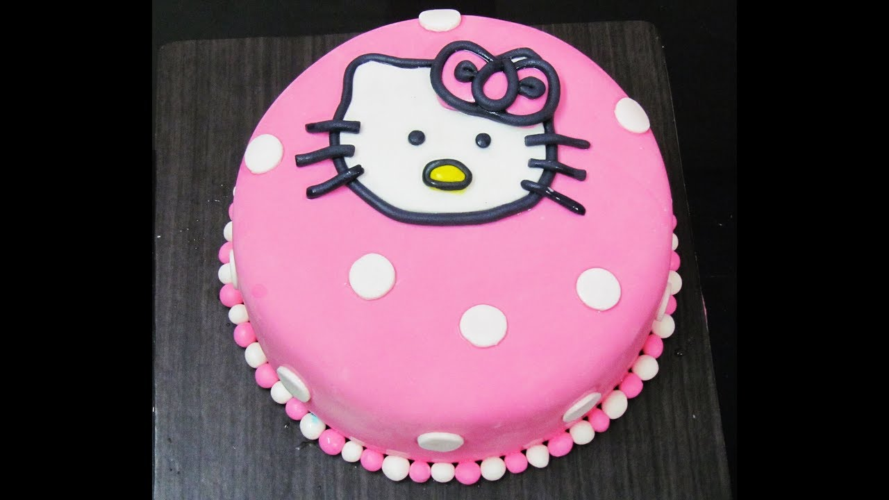 Hello Kitty Fondant Icing Cake Decoration Video Youtube
