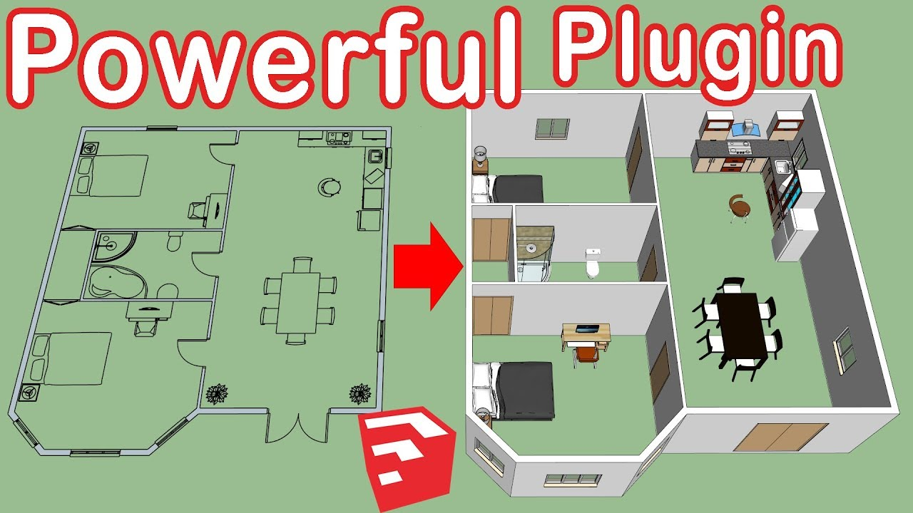 How To Use Dibac in SketchUp - Floor plan to 3d