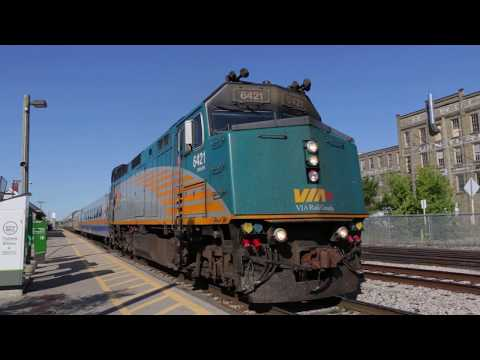 VIA Rail train #84 departing Kitchener ON (2019-Aug-24)