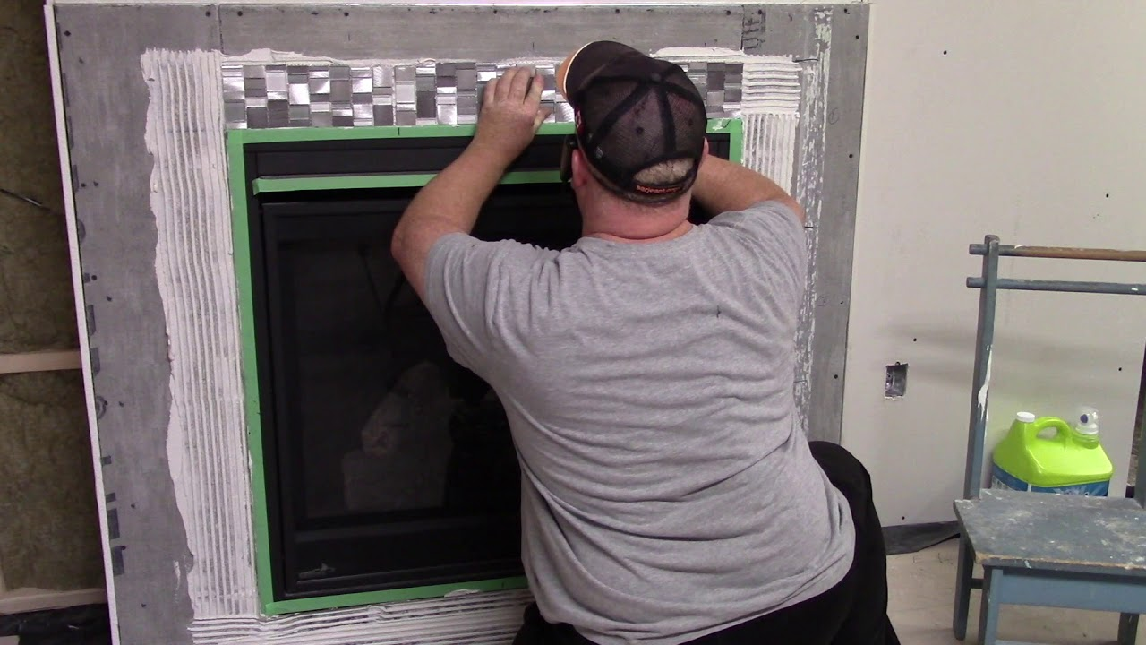 how to install a ceramic tile fireplace surround