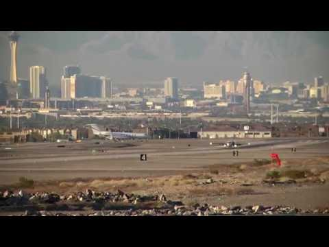 Twin engine exec jet lands at Henderson Airport Las Vegas