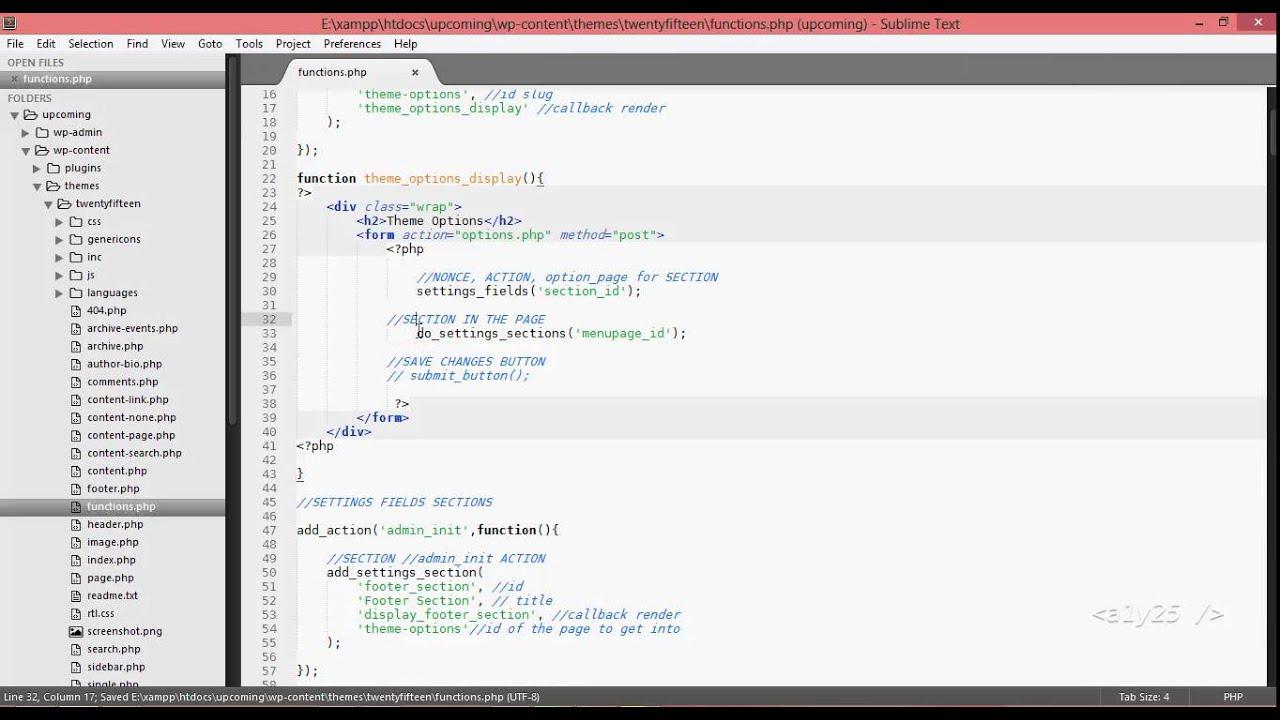 wordpress development - custom menu page, settings section, field ...