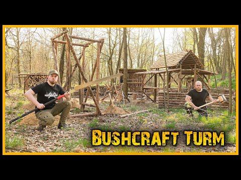 Bushcraft Camp [S05/E19] Der Bushcraft Turm und fertige Dächer ????️ - Outdoor Bushcraft Lagerbau