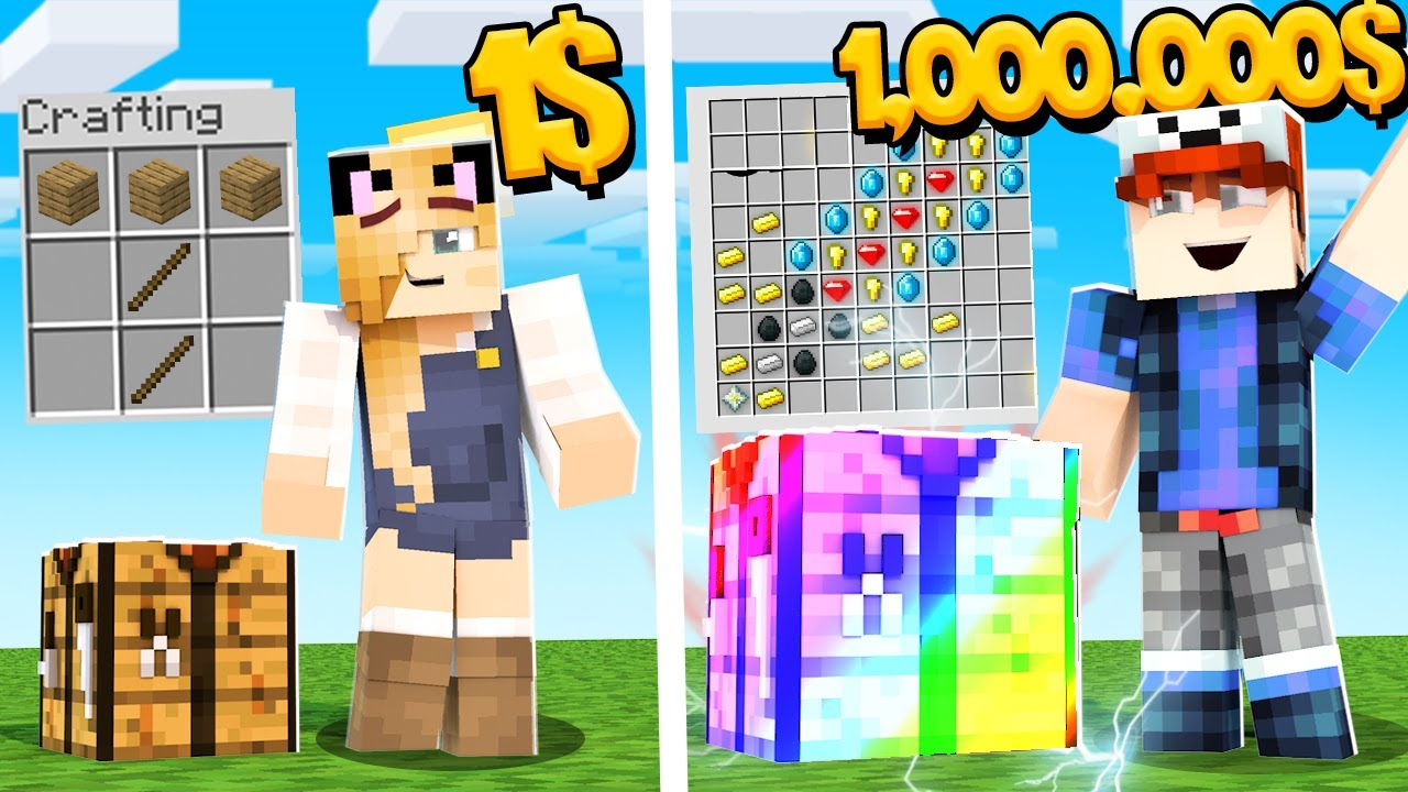 MINECRAFT - CRAFTING ZA 1$ VS CRAFTING ZA 1,000,000$ | Vito VS Bella