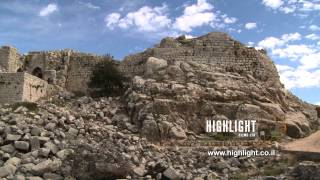 LN 076 Israel stock footage library: Slow Pan to left: below Qal'at Namrud fortress in the Galilee