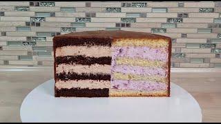 2 РАЗНЫХ торта в ОДНОМ БЫСТРО СБОРКА торта с 2мя абсолютно РАЗНЫМИ НАЧИНКАМИ Крем с ГОЛУБИКОЙ