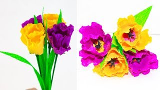 How To Make Paper Flower With Crepe Paper || Paper Craft || Paper Flowers Wall Decorations