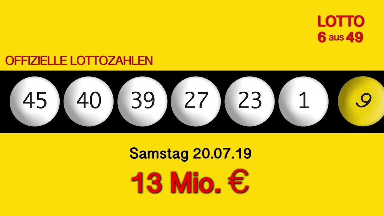Lottozahlen Samstag 20.07 19