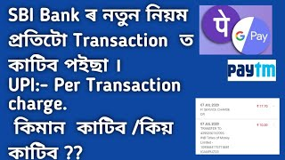 SBI FI service Charge/Upi transaction charge on google pay,paytm /in Assamese video/#SBI Fi charge.