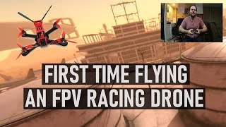 FIRST TIME Flying An FPV Racing Drone in Drone Racing League Simulator | DansTube.TV