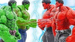 HULK SMASH~ GREEN HULK Defeat RED HULK & THANOS To Save The City #Toymarvel