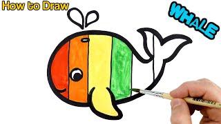 Rainbow Baby Whale Warna Warni Belajar Menggambar dan Mewarnai untuk Anak