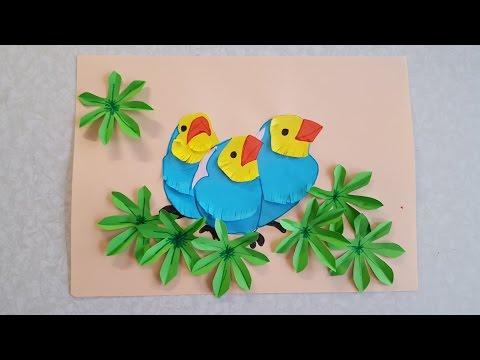 Птички Аппликация из цветной бумаги с шаблонами для скачивания