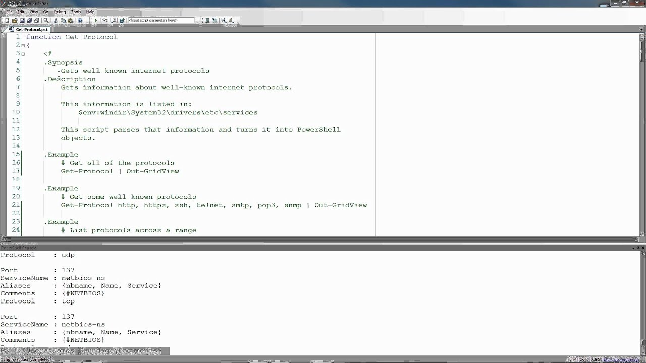 Writing PowerShell Functions - Get-Protocol Part 2 - Comment Based Help