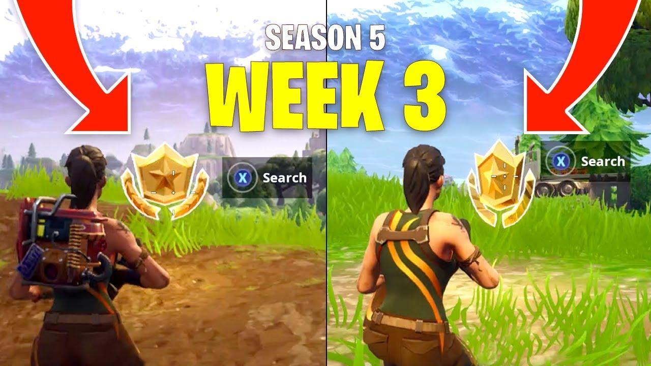 Fortnite Season 5 Week 3 Secret Battle Star Locations Youtube