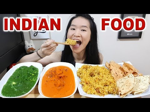 INDIAN FOOD! Butter Chicken, Chicken Biryani Curry, Palak Paneer, Crispy Papad | Eating Show Mukbang