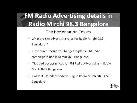 Details for Radio Mirch 98 3 Bangalore advertising