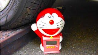 【ASMR】アンパンマンやドラえもんのおもちゃが車のタイヤで踏まれちゃう!!