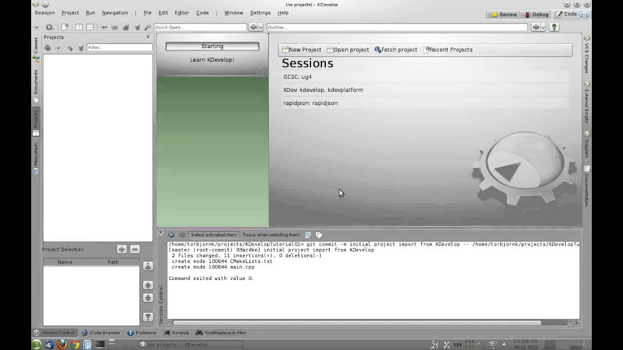 KDevelop Tutorial #1 - Creating CMake-based C/C++ Project from Template