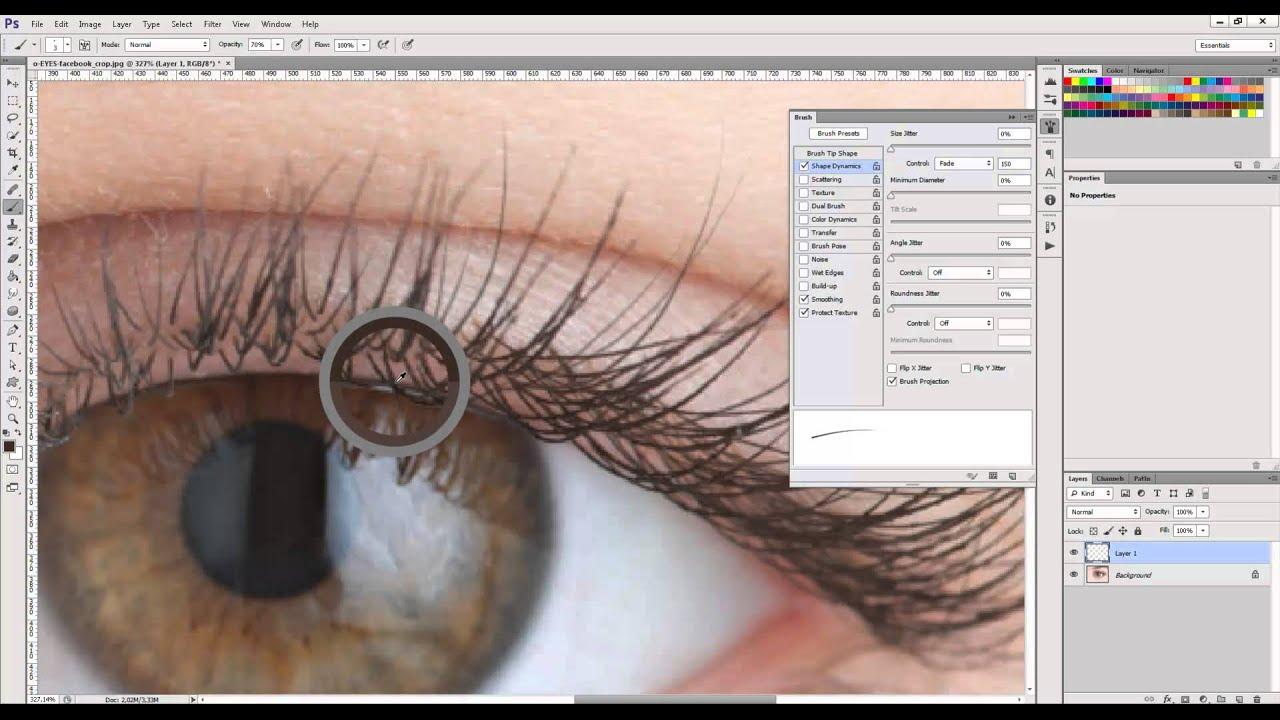 Drawing Eyelashes In Photoshop Youtube