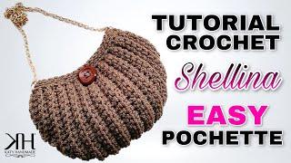 """Tutorial uncinetto pochette """"Shellina"""" - Maglia bassa in costa - Crochet bag ♥ Katy Handmade"""