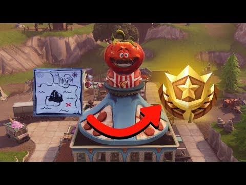 HIDDEN TREASURE LOCATION WEEK 1 SEASON 4 (Tomato Town Treasure Map) Fortnite Battle Royale