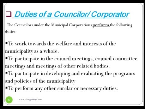 municipality & role,powers of Municipal corporator and Municipal corporation