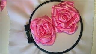 Роза из широкой атласной ленты /  Rose from wide satin ribbon