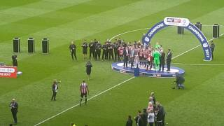 Sheffield United Promotion day. 30 April 2017. Medals & Cup Presentation