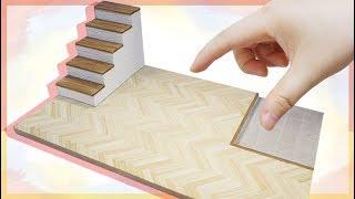 미니어쳐 하드보드지로 룸박스 만들기 1편 (해링본 바닥, 현관) DIY Miniature Dollhouse Rooms|HATSAE 핫새