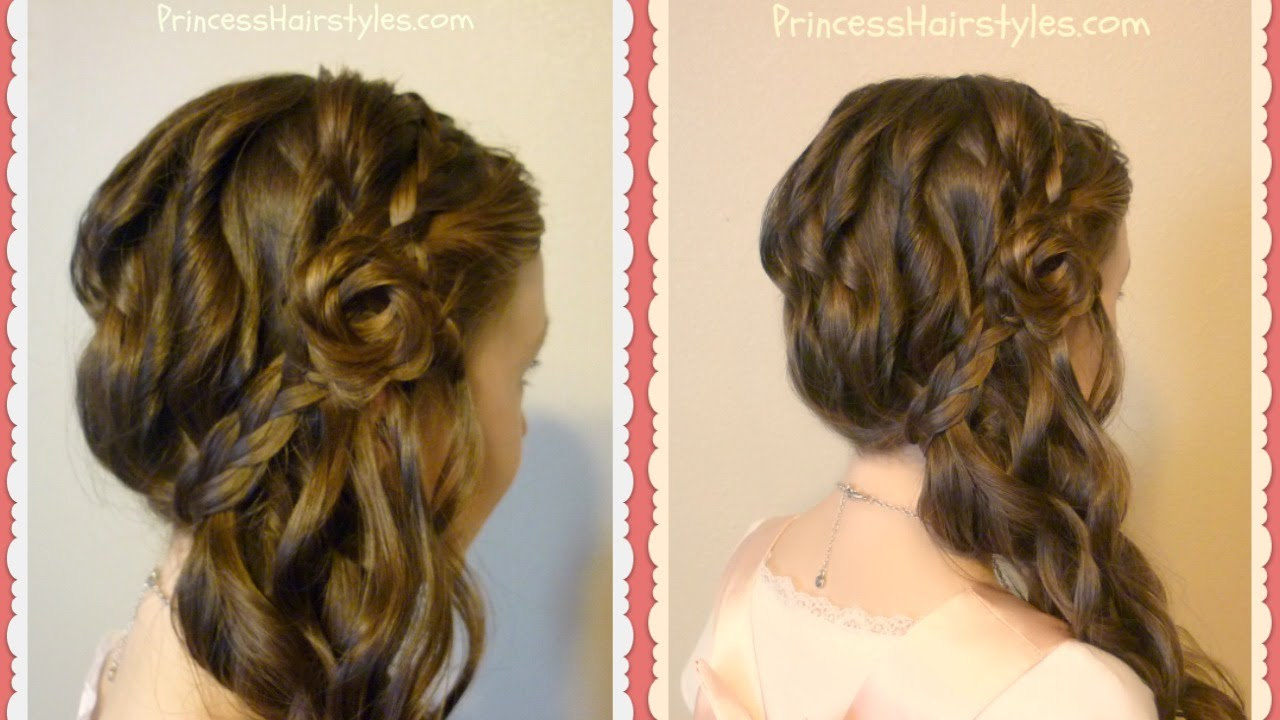 Romantic Side Swept Braided Rose Hairstyle