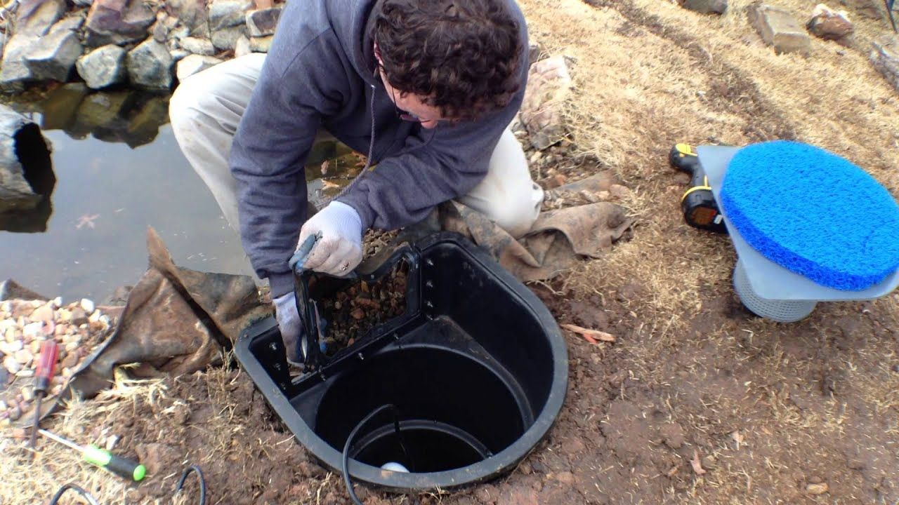 Helix pond skimmer retro fit installation youtube for Fish pond installation