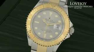 Rolex Mens Full Size Yachtmaster 18k Gold Stainless Steel 16623 Box Papers Slate