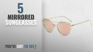 Top 10 Mirrored Sunglasses [2018]: U.S. CROWN Women Cat-Eye Mirror Sunglasses with case