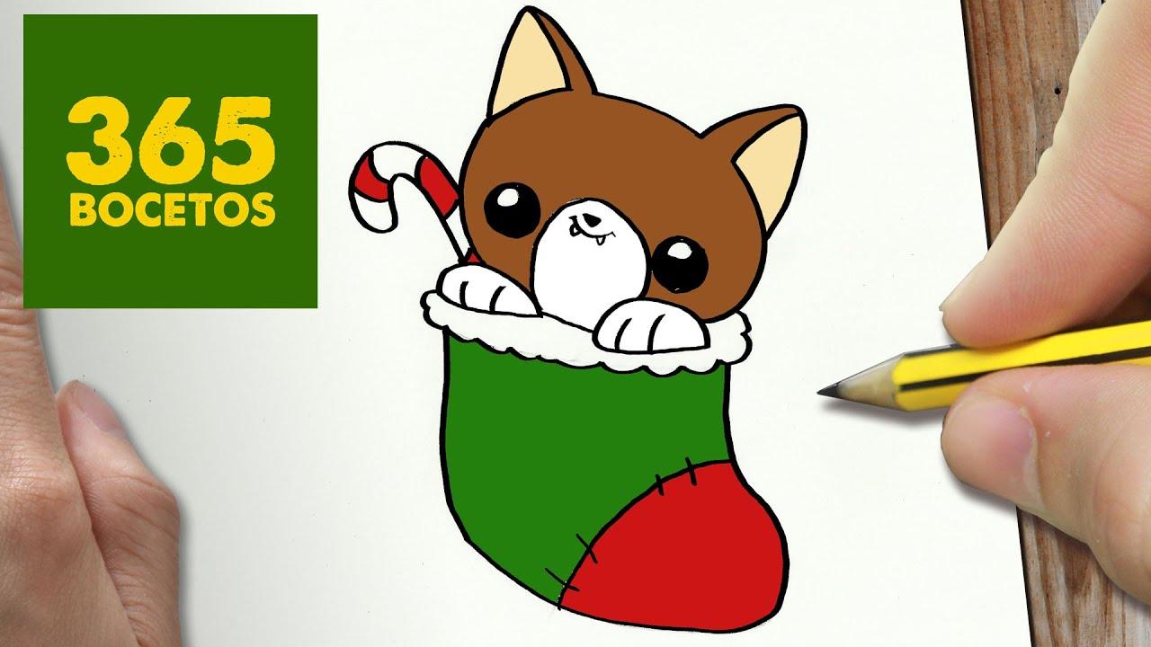 COMO DIBUJAR UN GATO PARA NAVIDAD PASO A PASO Dibujos kawaii navideños , How to draw a cat , YouTube