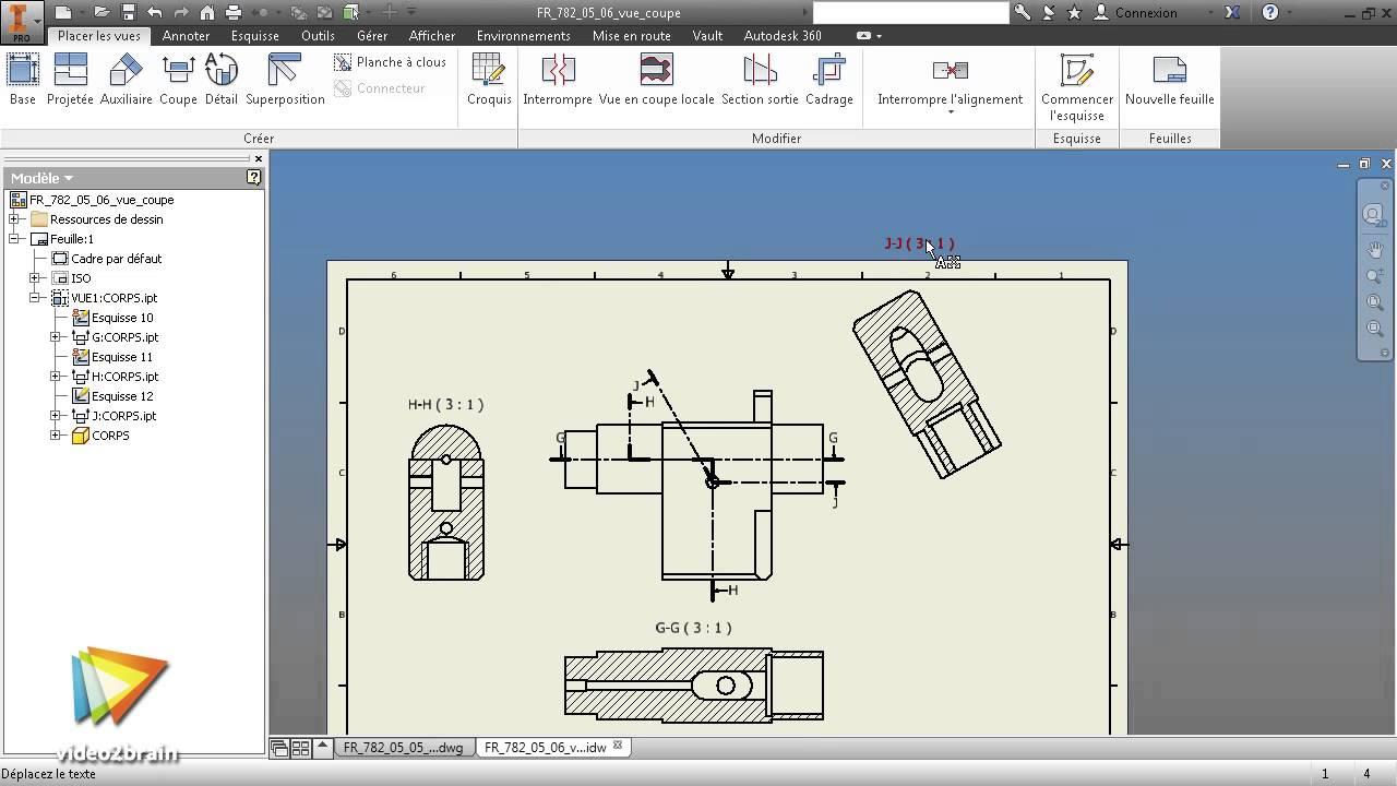 tutoriel inventor 2015 afficher une vue en coupe youtube. Black Bedroom Furniture Sets. Home Design Ideas