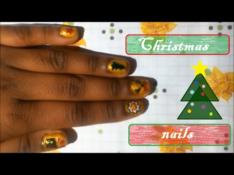 Christmas Nail Art With Stencils Youtube