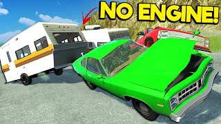 NO ENGINES Trailer Races Down a Mountain in BeamNG Drive Mods!