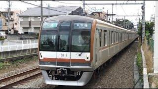東京メトロ10000系10011F 準急「新木場」行き 西武池袋線東久留米駅到着