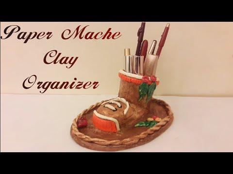 DIY - Paper Mache Clay Holder/Organiser | Desk organiser | #DIY